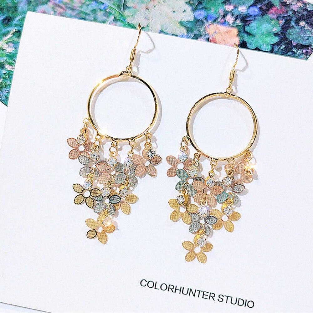 Boho Tassel Indian Drop Earrings 2020 Women Orecchini Jewelry Ladies Retro Flower Silver Color Jhumka Earrings