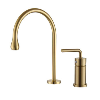 Bathroom Basin Faucets Solid Brass Sink Mixer Taps Hot & Cold Single Handle Lavatory Crane Tap Widespread Faucet Brushed Gold