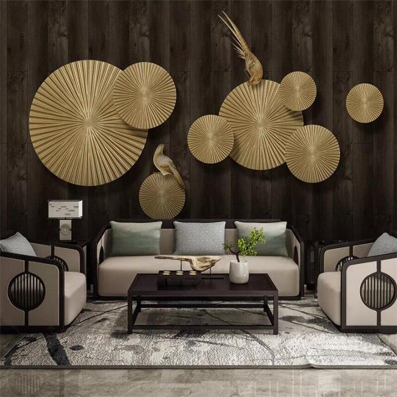 Wellyu Custom Wallpaper New Chinese Abstract 3D Murals Embossed Golden Wind Wheel Magpie Tv Background Wall Paper Papier Peint