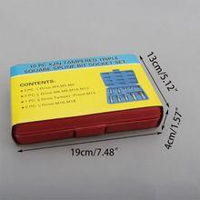 10 Pcs XZN 12 Point Triple Square Spline Bit Socket Set Tamper Proof with Case D0AC