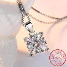 925 Sterling Silver Necklace AAA CZ Zirconia Ice Cube Pendant Necklace For Women Chain collares kolye Choker S-N162