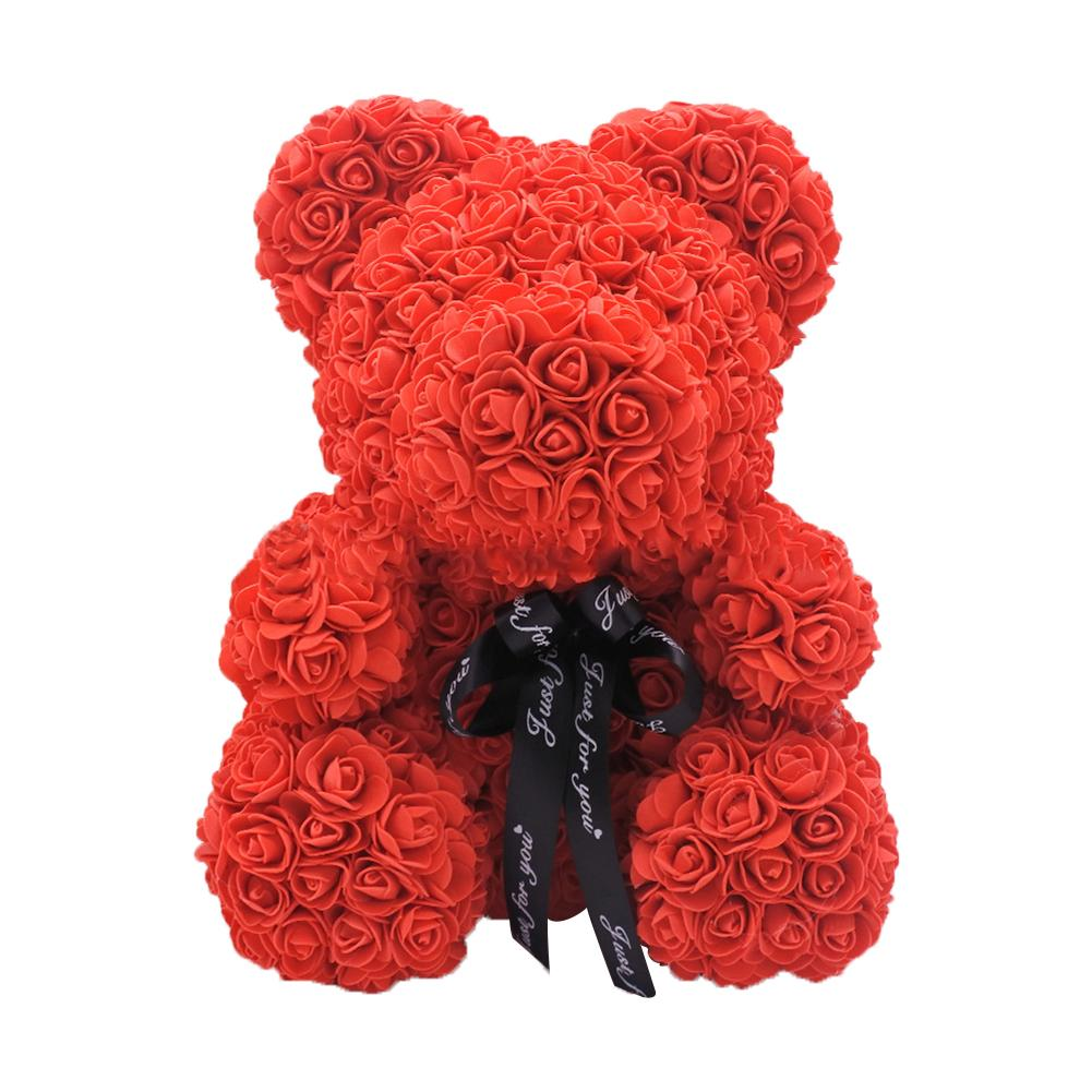 HotValentine's Day 25cm Rose Bear Heart Artificial Flower Rose Teddy Bear Women Valentine's Wedding Birthday Gift Pregnant Woman