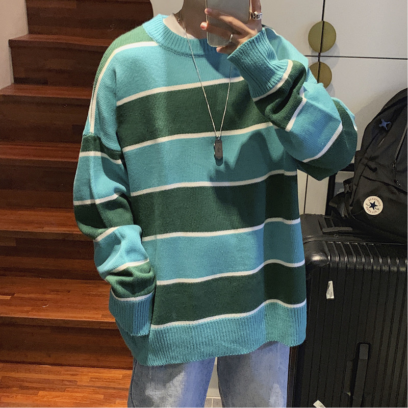 Winter Thick Striped Sweater Men Warm Fashion Contrast Color Casual Knitted Pullover Mens Loose Sweater Male Sweter Clothes