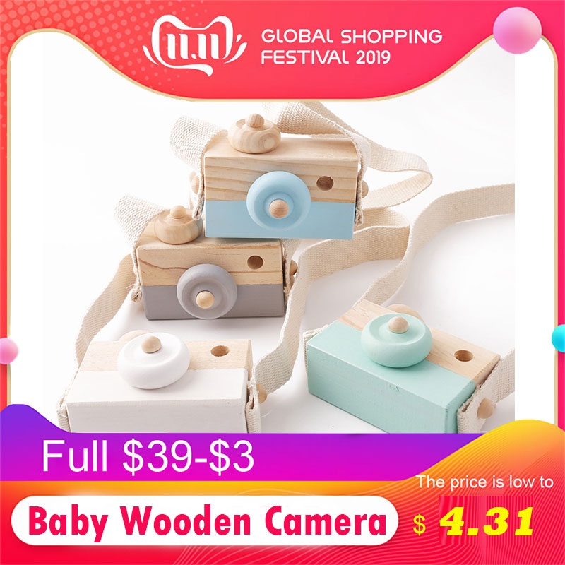 Let's Make 1PC Baby Wooden Toy Camera Fashion Pendant Baby Kids Hanging Camer Prop Decoration Nordic Hanging Wooden Camera Toy