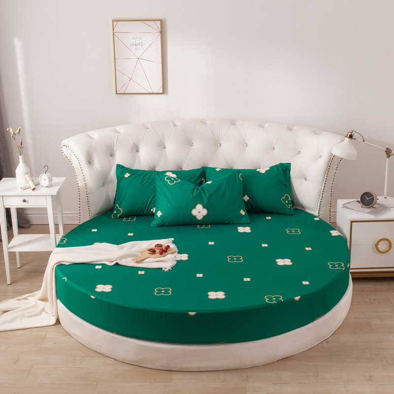Printing Round Mattress Cover 100%cotton Bed Sheet Fitted Sheet With Elastic Themed Hotel Motel Home Textiles No Pillowcases