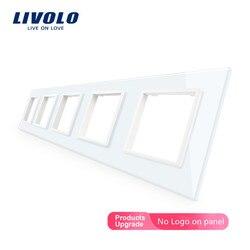 Livolo Luxe 4 kleuren Crystal Glass Switch Panel, 364mm * 80mm, EU standaard, vijfvoudig Glass Panel Voor Muur Socket C7-5SR-11