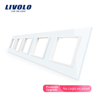 Livolo Luxury 4colors Crystal Glass Switch Panel, 364mm*80mm, EU standard,Quintuple Glass Panel For Wall Socket C7-5SR-11