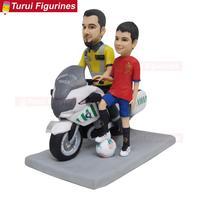 Pai e filho motocicleta equitação tema bolo de aniversário toppers adulto cerimônia bonecas esculturas