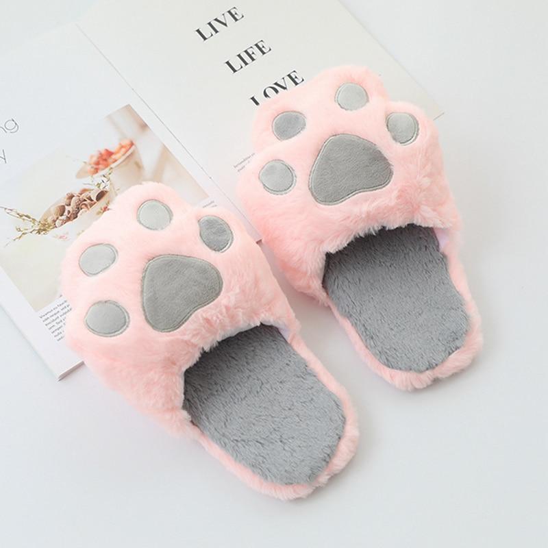 Kawaii Cat Paw Plush Slippers  2
