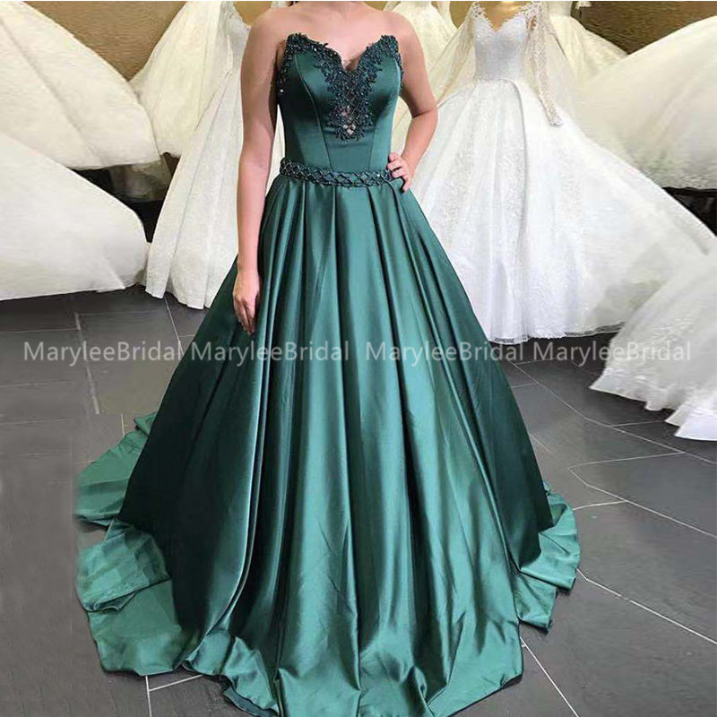 Sweetheart Long Prom Dress Dark Green Satin Delicate Beading Formal Party Gowns Princess Ball Gown Vestidos De Gala 2020