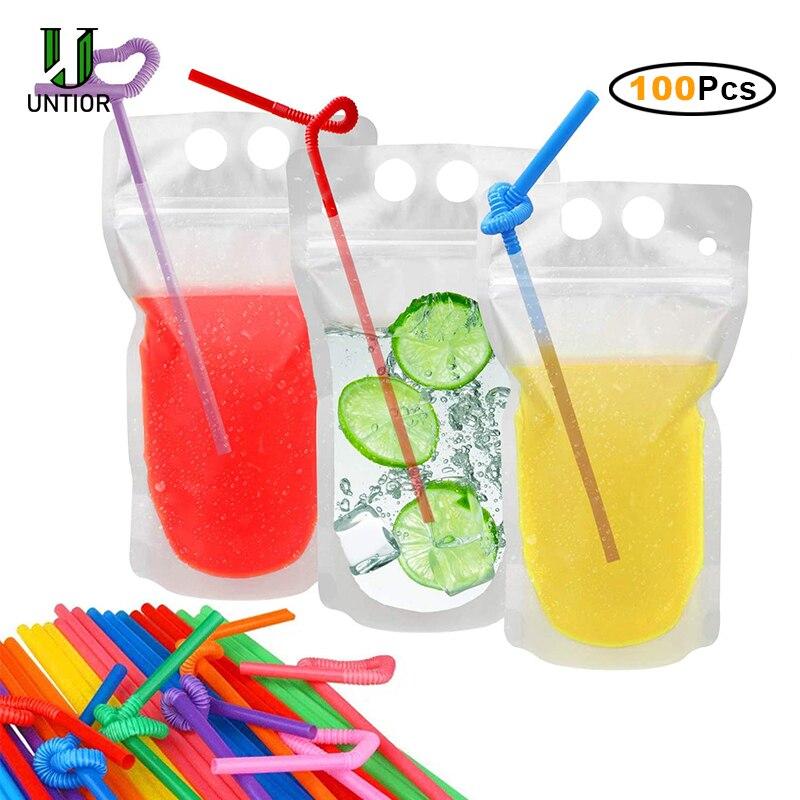 UNTIOR 50/100 шт напиток мешки с соломы одноразовые ледяной напиток сумки пакеты для смузи с питьевой одноразовые трубочки мешок сока