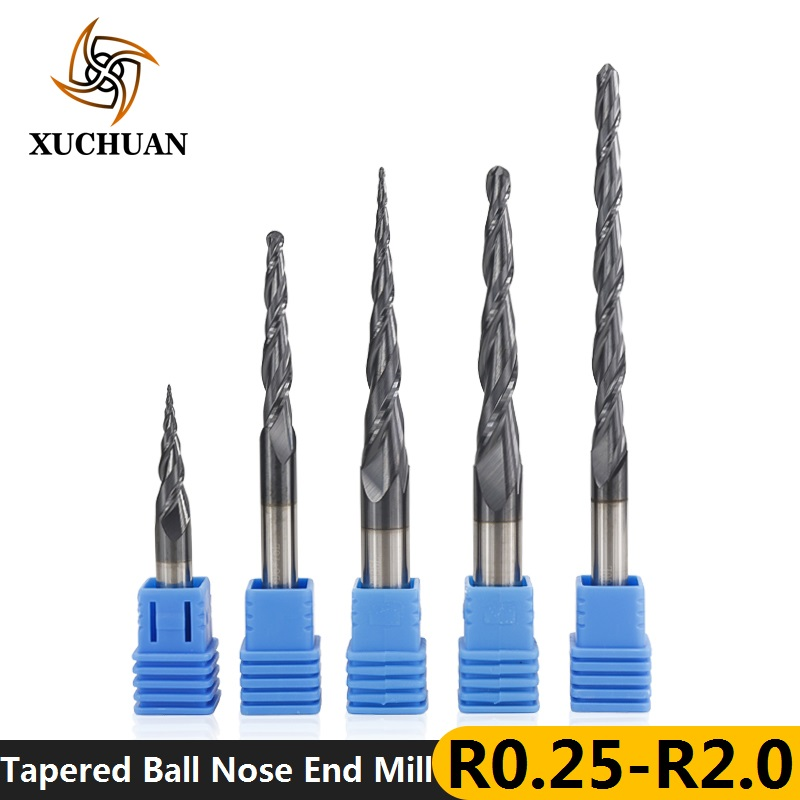 1pc TiAIN Coated R0.25/0.5/0.75/1.0/1.5/2.0 2 Flute Tapered Ball Nose End Mill Carbide Wood Engraving Bit CNC End Milling Cutter