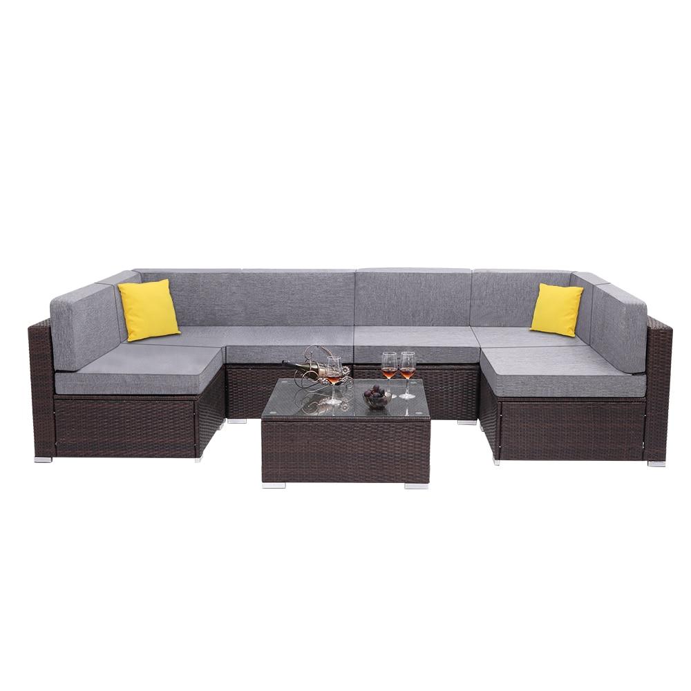 【US Warehouse】7 Pieces Patio PE Wicker Rattan Corner Sofa Set(Outdoor Rattan Sofa)