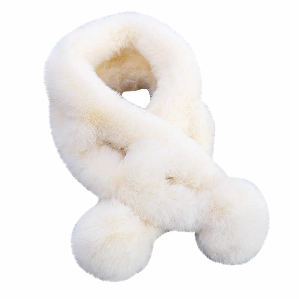 Hairy สีทึบทรงกลมจี้ wraps สีทึบสีแฟชั่นผู้หญิง Outerwear Bib ผ้าพันคอขนสัตว์ Faux WARM winterjas Dames