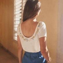 Jastie/льняная футболка с короткими рукавами цветочной вышивкой