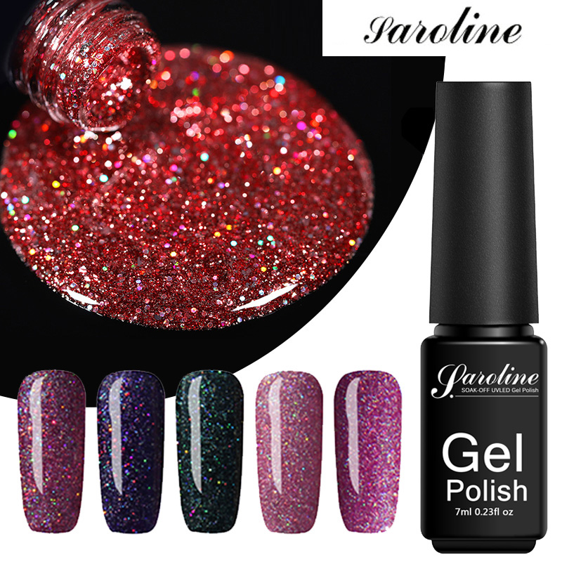 Saroline Neon UV Gel Polish Hybrid Semi-Permanent Enamels Manicure Rainbow Azure Nail Art Lacquer Spangles For Nails Design