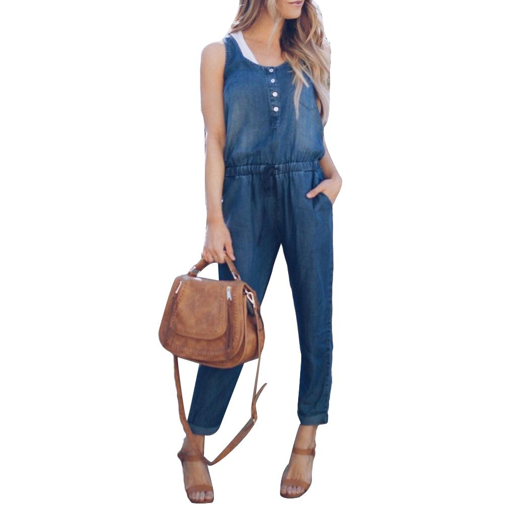 Summer Women Fashion Sleeveless Jeans Jumpsuit Denim Overalls Long Pants Romper