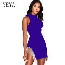YEYA Hollow Out Sleeveless Bodycon Bandage Dress Summer Tassel Mini Women Sexy Vestidos Celebrity Party Robe Femme