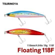 TSURINOYA Sea Fishing Lure 118F Shallow Range Floating Minnow 118mm 19g DW95 Long Casting Magnet Gravity System Hard Bait