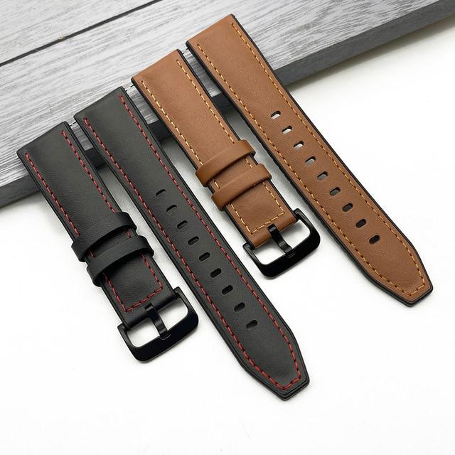 Ремешок кожаный для наручных часов, топ для Huawei Watch, Samsung Gear S3 Amazfit GTR 47 мм Xiaomi Haylou Solar 22 мм