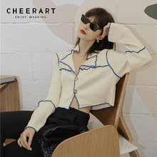 Cardigan Sweater Knitted-Top Button-Up Ribbed Long-Sleeve Korean Fashion CHEERART Women