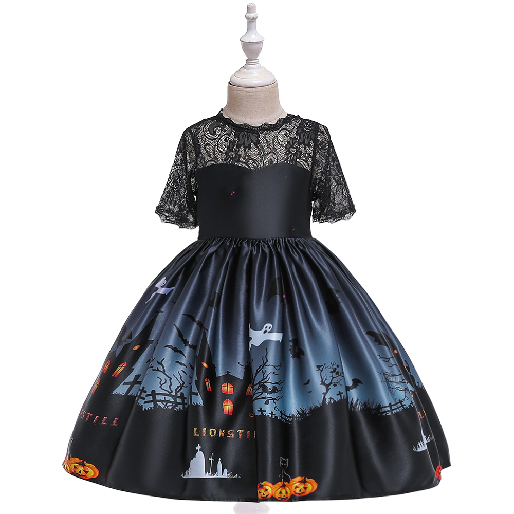 Baby Girl Kid Halloween Ghost Long Sleeve Tutu Dress Headband Outfit Clothes Set