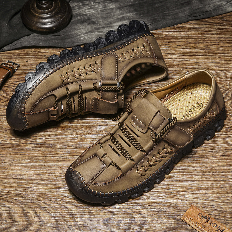 DM195 Spring Summer New Shoes plus size 48 casual shoes hand stitched hollow Breathable Walking Outdoor Footwear nonslip sandals Men