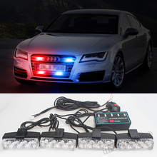 цена на Car styling Police Light Strobe Warning Light 4*4 LED Blue Red Yellow White Car Truck Emergency Light Super Power Firemen Lights