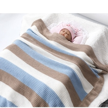Baby Blanket Quilt Qomfortable And Soft Stripe Bed Sheet 70*90cm 27.56in*35.4in Cotton Yarn Knitted Stroller Blanket