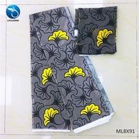 LIULANZHI Polyester Silk wax fabrics Printing ankara satin fabric for women 4+2yards/lot satin fabric ML8X