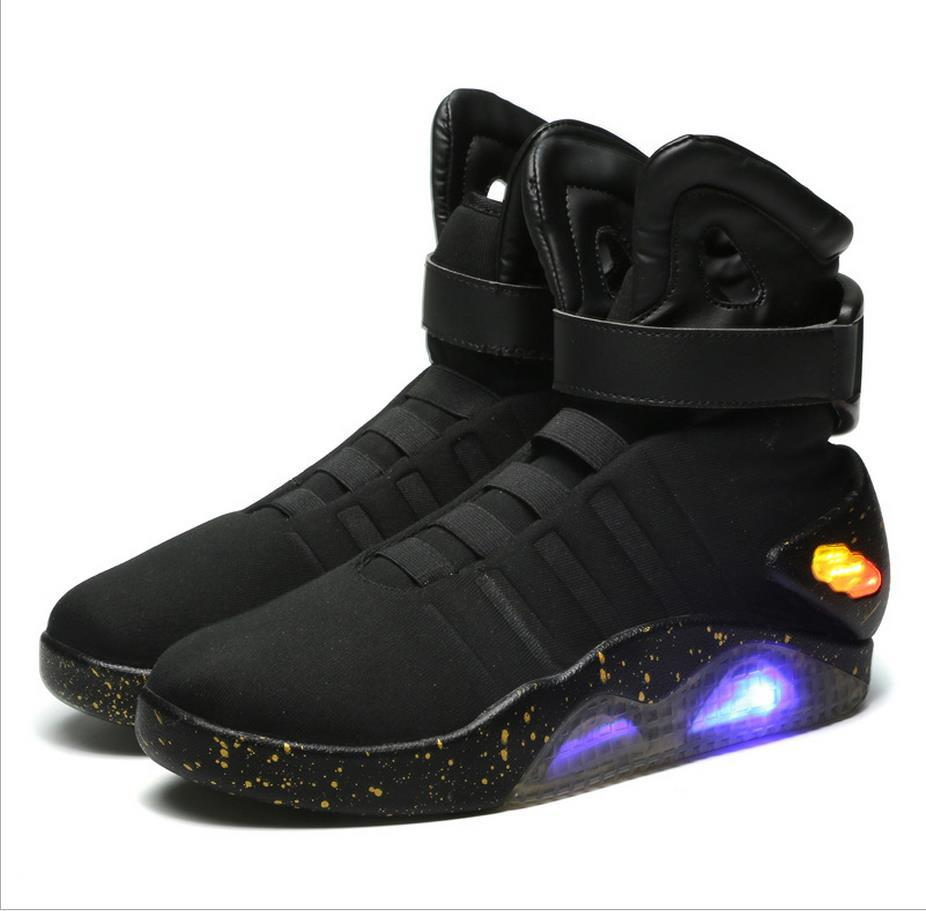 Spring Adult Basketball Shoes USB Charging LED Luminous Shoes Men Fashion Light Up Casual Men Back To The Future Glowing Sneaker