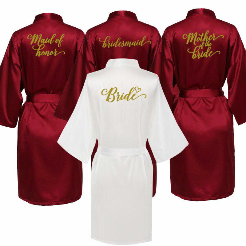 Sexy Burgundy Robe Bride Kimono Satin Robe Women Bathrobe Wedding Robe Sister Mother Of The Bride Groom Bridesmaid Robes