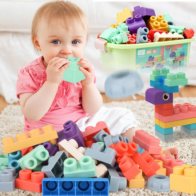 Soft บล็อกอาคารเด็ก Soft Teethers บล็อกของเล่นกับกล่องเก็บขนาดใหญ่ประกอบยาง DIY อิฐของเล่นเด็ก