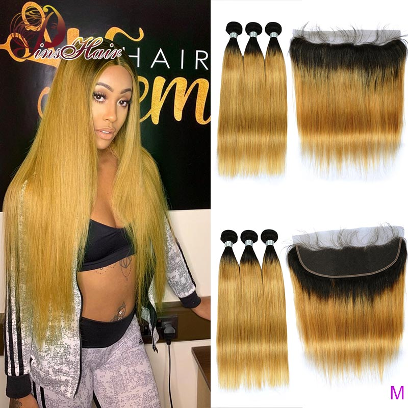 Pinshair T1B/27 Honey Blonde Colored Straight Hair Ombre Bundles With Front 13*4 Baby Hair Peruvian Human Hair Weave Non-remy