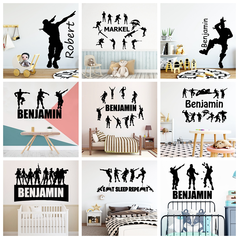 New Custom Name Battle Royal Wall Sticker Name PS4 Wall Decals For Kids Room Decor Gaming Stickers Decal Wallpaper muursticker