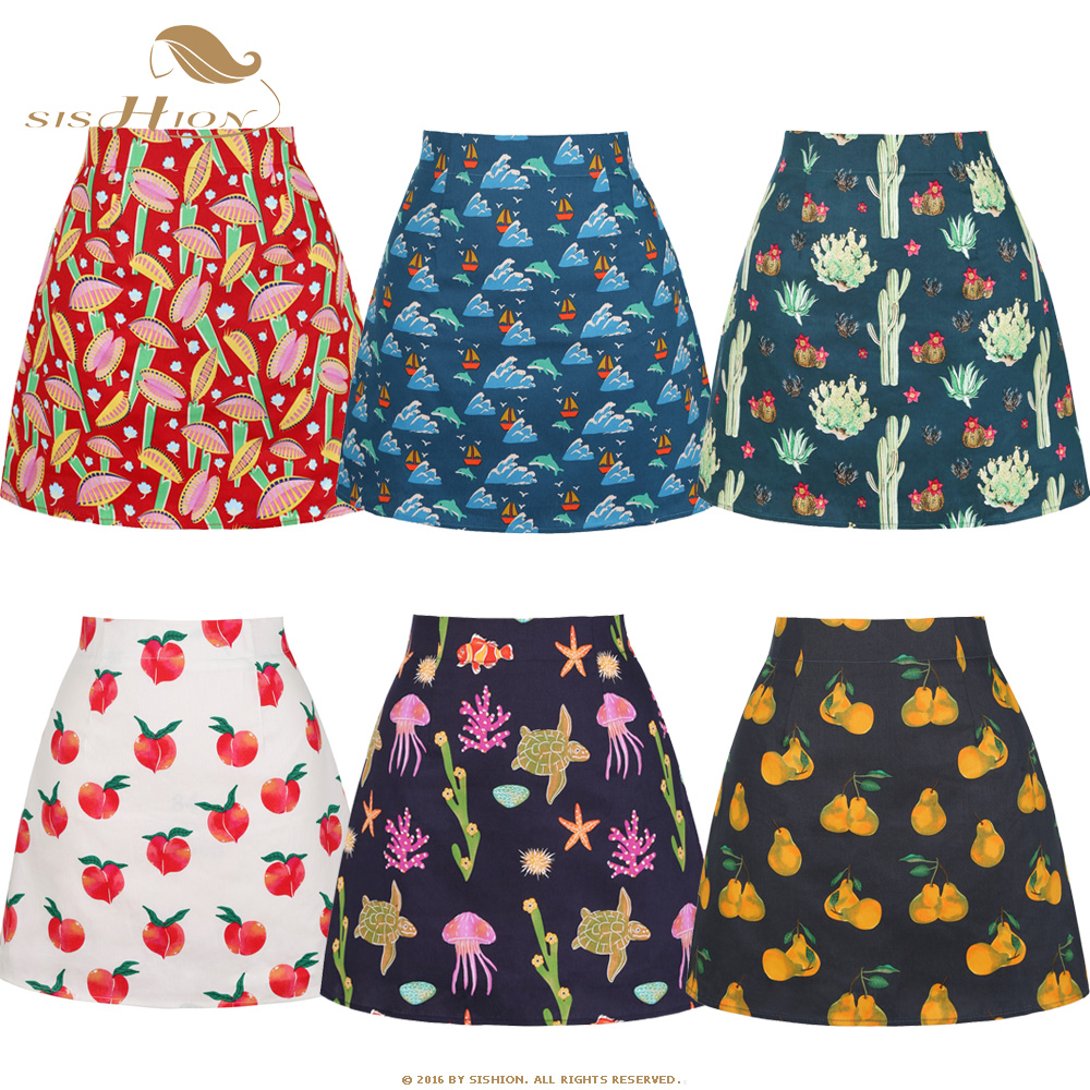SISHION Skirts Womens Ropa Mujer SS0008 Black White Red Fruit Floral Skirts Print Women Ladies Summer Sexy Mini Skirt Plus Size