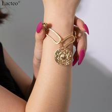 Lacteo Vintage Carved Coin Cancer Constellation Pendant Bracelet Women Statement Golden Chain Bracelet Bangle Fashion Jewelry classic english word carved heart pendant bracelet for women