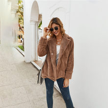 Hot Sales Overcoat 2019 Winter Fold-down Collar Thick Pocket Long Sleeve Plush Warm Hoodie Coat WOMEN'S Dress One-Button(China)