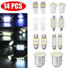 14pcs/set White LED 12V 1157 T10 31 36mm Interior Map Dome License Plate Light Kit Car Interior Lamp Dome Map Light цена