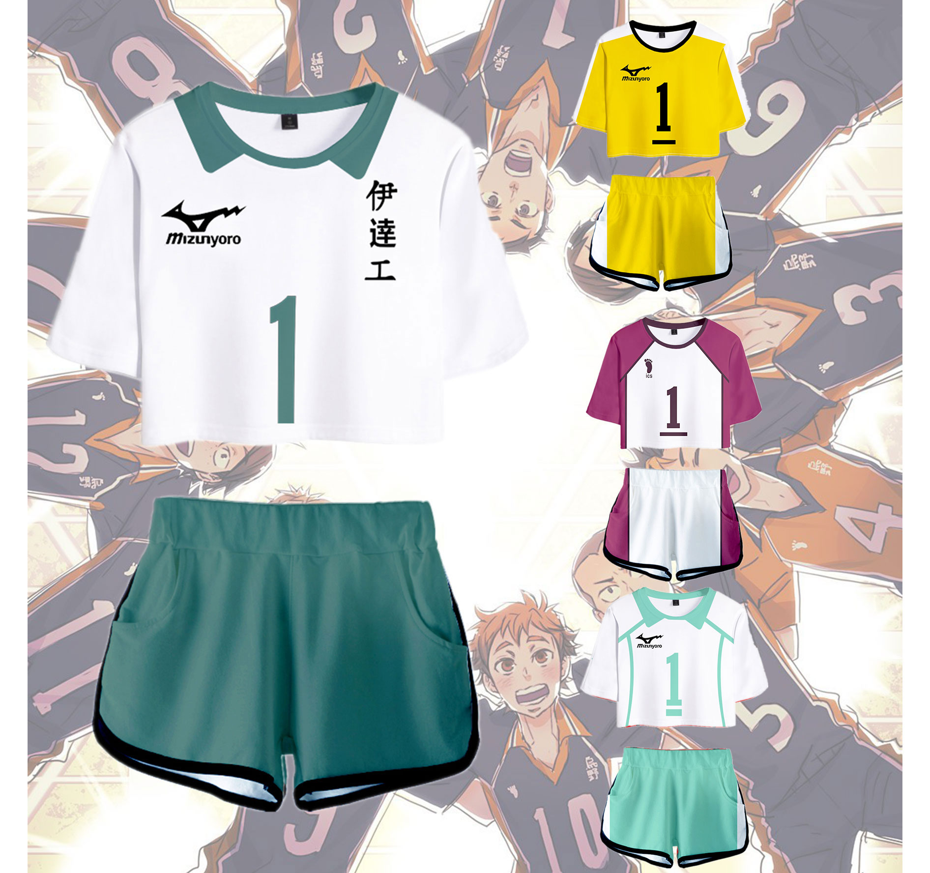 3D Haikyuu!! To The Top Cosplay Outwear Harajuku Streetwear Two Piece Sets Summer Women Pullover Hip Hop Elastic Waist Shorts