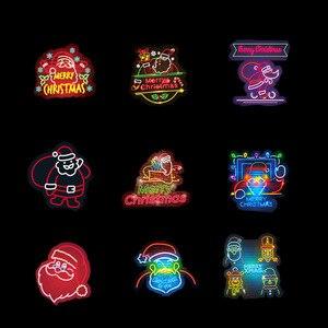 Image 3 - 50 Pz/pacco Al Neon Di Natale Adesivi Serie di Natale Babbo Natale di Doodle Autoadesivo Per Il Computer Portatile Del Mouse Moto Bagaglio di Skateboard Chitarra F4