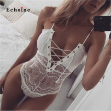 купить Echoine Women Spaghetti Straps Bodysuits Lace Up Grommet Bandage Hollow Out Sexy Briefs Night Wear See Through Nightclub Rompers по цене 621.35 рублей