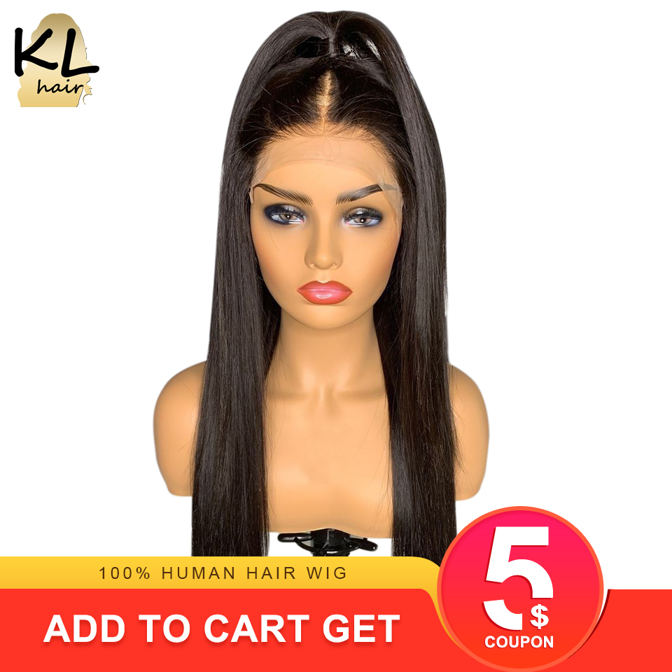 Straight Lace Front Human Hair Wigs For Black Women Glueless Brazilian Remy Hair Pre Plucked Lace Wig With Baby Hair 13x4 KL