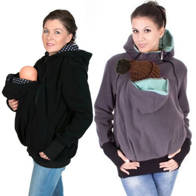 Hands Free Woman Kangaroo Hoodies With Baby Carrier Winter Pregnant Sweatshirts With Parent Child