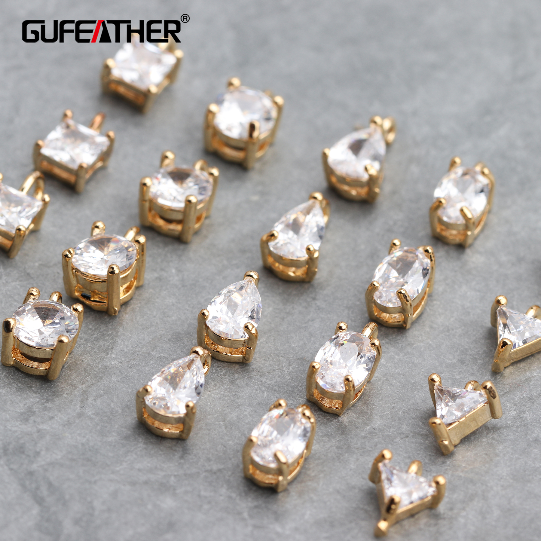 GUFEATHER M618,jewelry Accessories,18k Gold Plated,jump Ring,hand Made,jewelry Making,diy Zircon Pendant,diy Earring,20pcs/lot