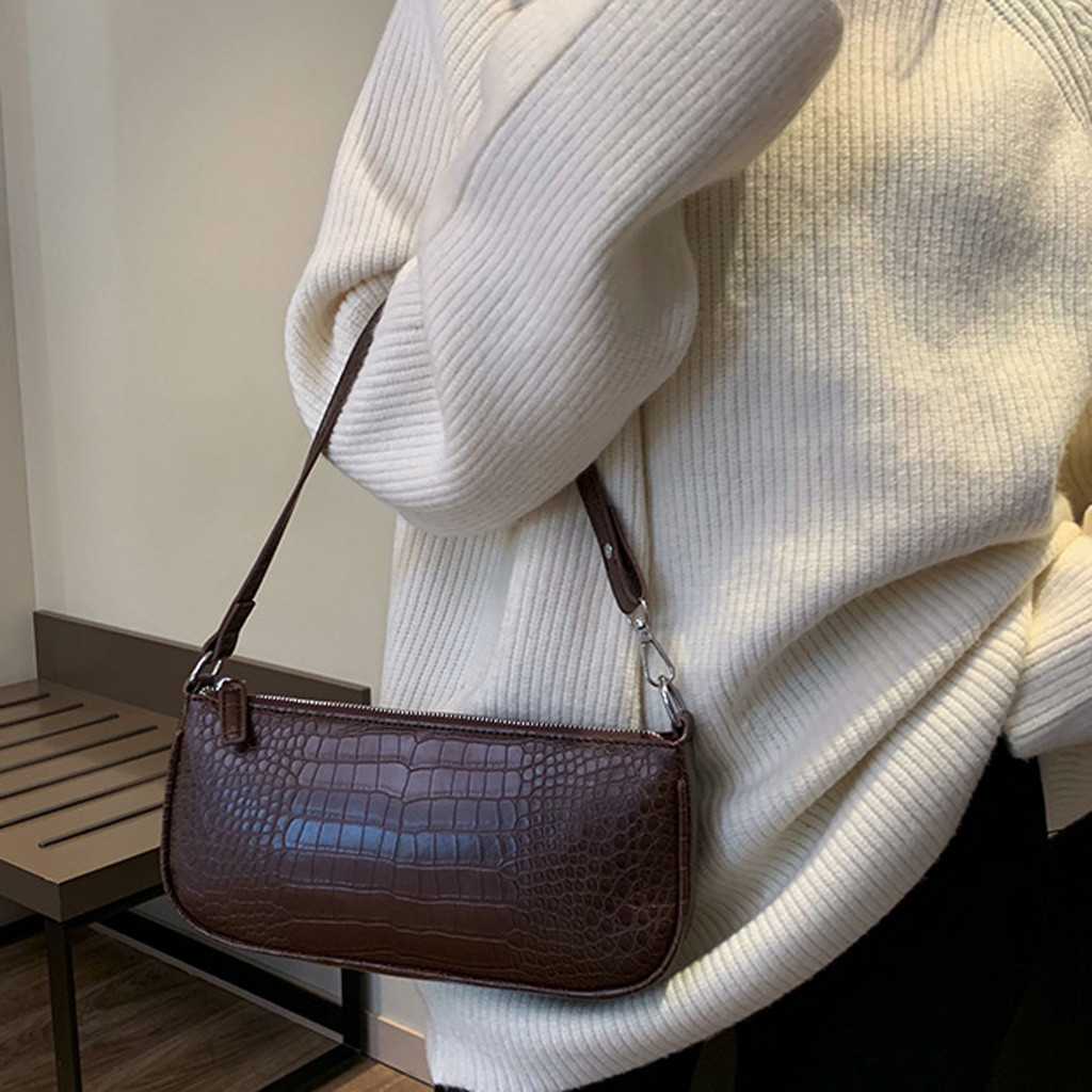 Retro Alligator Women Messenger Handbags Luxury Baguette Shoulder Bags for women 2019 Split Retro Crocodile Bolsas Sac A Main YL