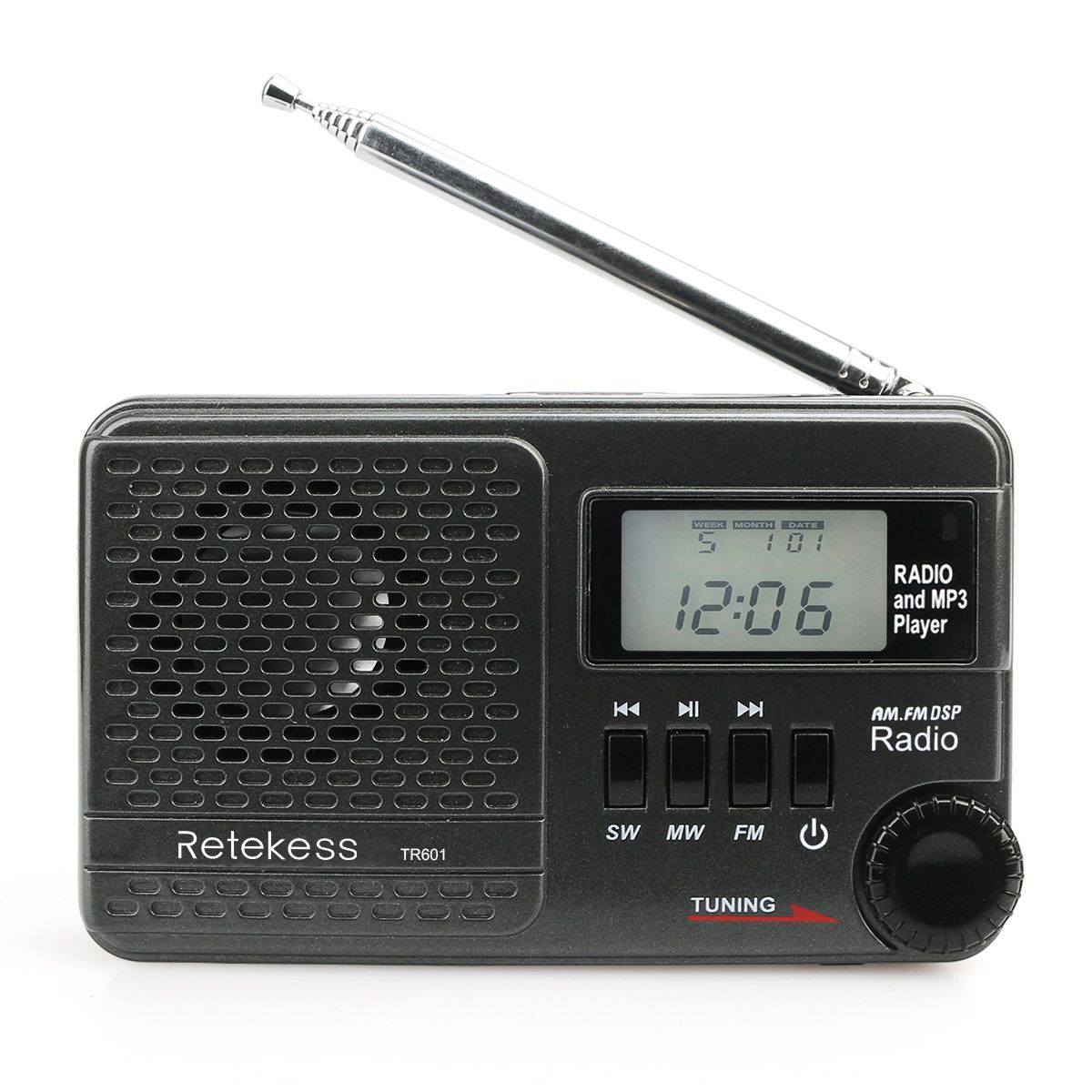 Retekess TR601 Radio FM AM SW MP3 Player TF Card Alarm Time Knob Digital Display DSP Sleep Function For Family Camping Outdoor