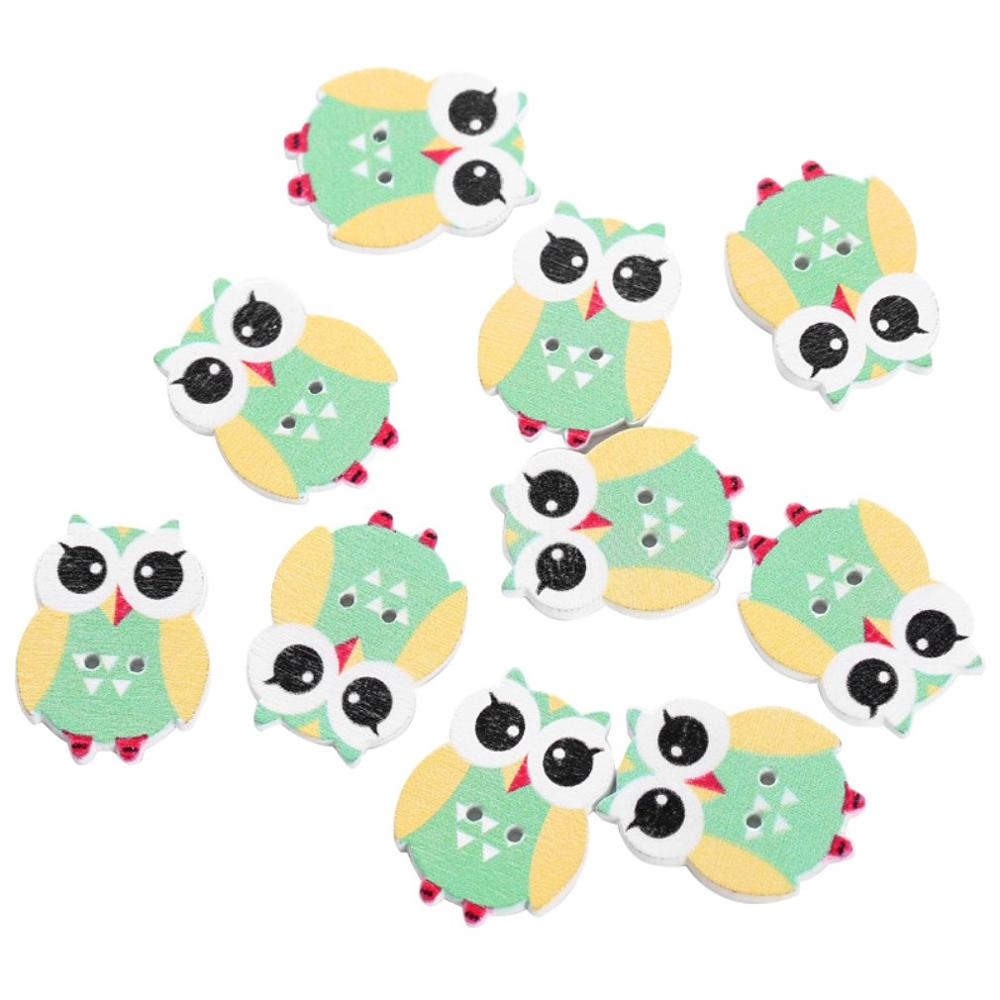 New 50PCs Mixed Colours Cute Cat 2-holes Wooden Button Charm Sewing Accessories