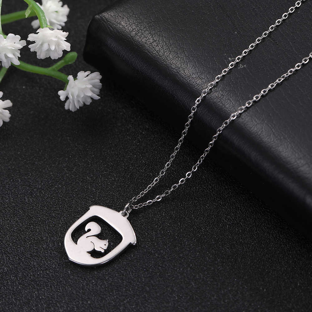 Skyrim Cute Squirrel Stainless Steel Pendant Necklace Women Custom Statement Chain Necklaces Jewelry Birthday Gift for Girls