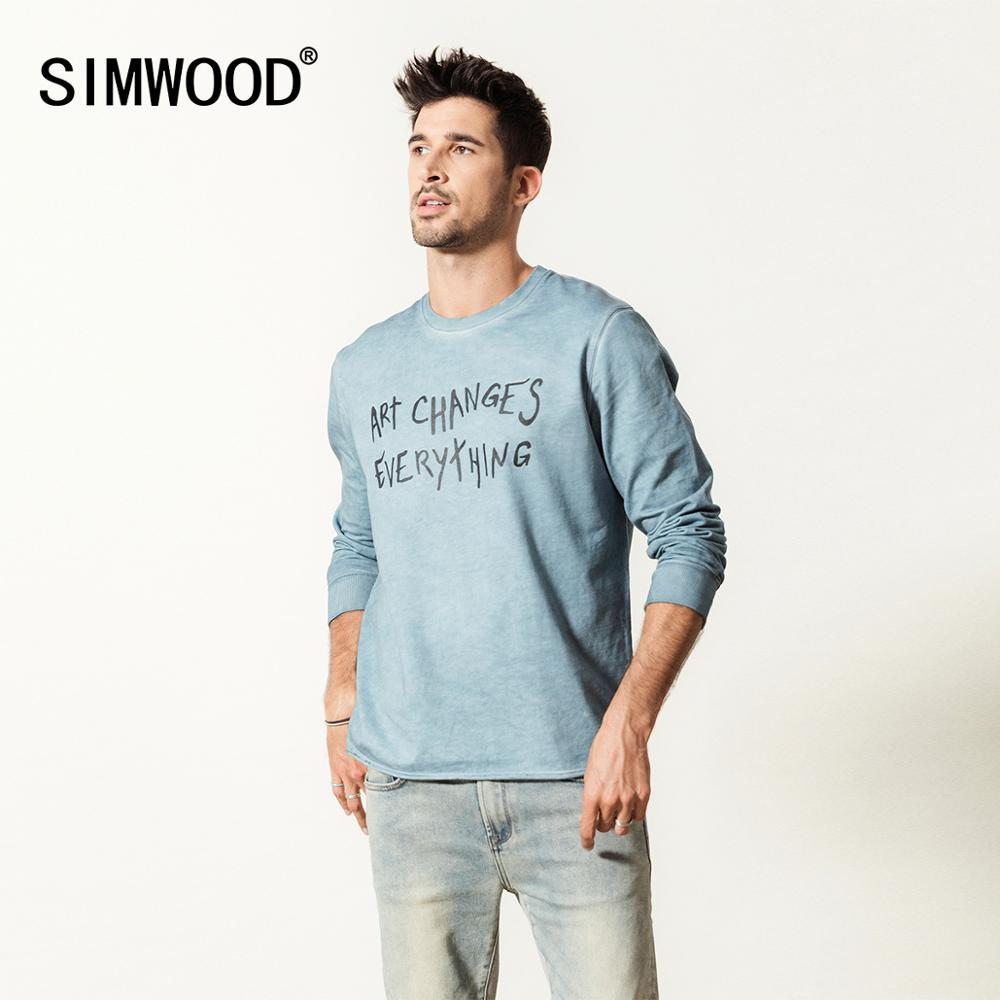 SIMWOOD 2020 spring new vintage hoodies men dark washed raw letter print 100% cotton sweatshirts high quality pullover SI980507
